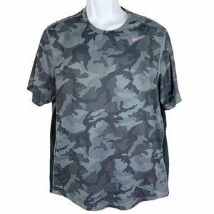 Nike Dri Fit Gray Camo Athletic Short Sleeve Shirt
